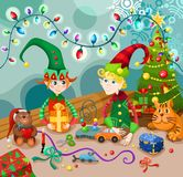 Christmas funny elves illustration Stock Photos