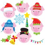 Christmas funny little pig face vector cartoon illustration stock photo