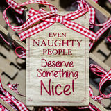 Christmas funny message. On wooden board Stock Photo