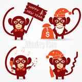Christmas funny monkey. Set of vector illustrations of a funny monkey with a sign greeting with champagne with sparklers and presents Stock Photography