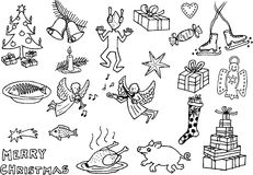 Christmas funny pictures 1. Black and white drawings of christmas motives Royalty Free Stock Images