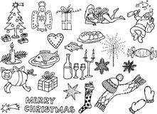Christmas funny pictures 2. Black and white drawings of christmas motives Stock Image