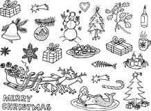 Christmas funny pictures 3. Black and white drawings of christmas motives Stock Images
