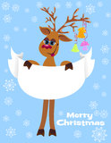Christmas funny Reindeer with blank for your text Royalty Free Stock Photos