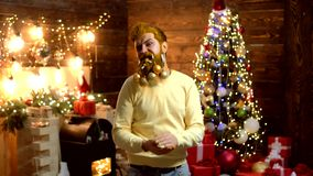 Christmas funny Santa. Delivery gifts. Santa Claus. Make funny face. Thanksgiving day and Christmas. Christmas Beard stock video