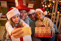 Christmas funny selfie-time for family Stock Image