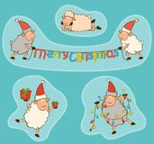 Christmas funny sheep. Royalty Free Stock Photos