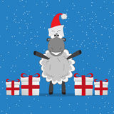 Christmas funny sheep with gifts Royalty Free Stock Image
