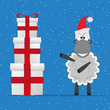 Christmas funny sheep with gifts Stock Image