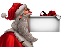 Christmas Funny Sign. As santa claus with a big gift in his mouth with blank copy space as a winter celebration message symbol with 3D illustration elements Stock Images