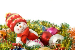Free Christmas- Funny White Snowman And Decoration Royalty Free Stock Image - 11909516