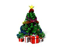 Christmas fur-tree. With gifts on a white background Royalty Free Stock Photo