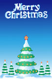 Christmas fur-tree. Greater christmas fur-tree and 4 small fur-trees on a dark blue background with asterisks on tops Stock Photo