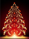 Christmas fur-tree. Christmas golden fur-tree with red lights Royalty Free Stock Images