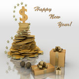 Christmas fur-tree from coins. Wishes of successful business in New year Royalty Free Stock Photo
