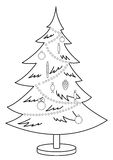 Christmas fur-tree, contours. Christmas fur-tree with toys and ornament, monochrome contours Stock Photos
