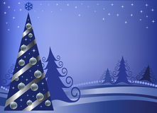 Christmas fur-tree with silver spheres Stock Images