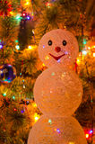 Christmas fur-tree with snowman Stock Images