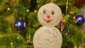 Christmas fur-tree with snowman stock video footage
