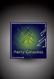 Blue Christmas card with futuristic christmas tree. Vector Royalty Free Stock Photo