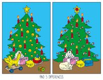 Christmas Game for Children. Find Differences. Christmas Tree and Gifts in the Room Royalty Free Stock Photos
