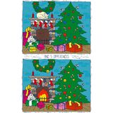 Christmas Game for Children. Find Differences. Christmas Tree, Fireplace and Gifts in the Room Stock Photo