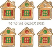 Christmas Game with Gingerbread Cookies. Christmas Game for Children. Find the Same Pictures. Gingerbread House Cookies Stock Photos