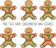Christmas Game for Children with Gingerbread Man. Christmas Game for Children. Find the Same Pictures. Gingerbread Man Cookies Royalty Free Stock Photo