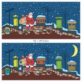 Christmas Game for Children with Santa. Christmas Game for Children. Santa on the Roof at Christmas Night Royalty Free Stock Image
