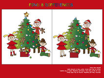 Christmas game. Find the eight differences Stock Photography