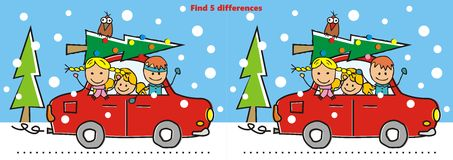 Christmas game. Fint ten differences. Game for children. Vector illustration Royalty Free Stock Photography