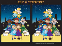 Christmas game. Illustration of christmas game: find eight differences Royalty Free Stock Photo