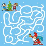 Christmas game for kids, labyrinth Stock Photography