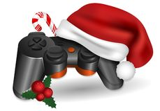 Christmas gamepad. Gamepad with a Santa Claus hat, candy and holly. royalty free illustration