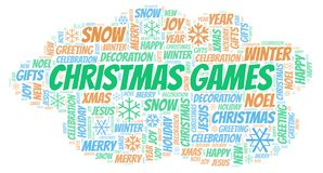 Christmas Games word cloud. Wordcloud made with text only vector illustration