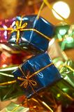 Christmas garland. Close up of assorted color Christmas gift decoration stock images