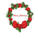 Christmas garland. With red ribbon illustration background Stock Image