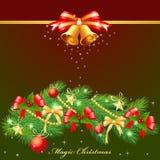 Christmas garland. Decorating Christmas garland on a dark background Royalty Free Stock Image