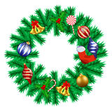 Christmas Garland. With various decorations Stock Photo