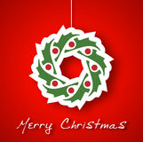 Christmas garland applique on red background. Vector royalty free illustration