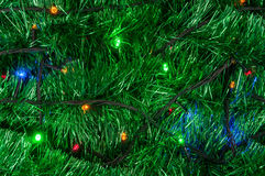 Christmas garland background with colored lights Stock Photo