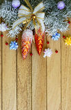 Christmas garland on the background dnrevyannyh boards. Christmas theme Stock Photo