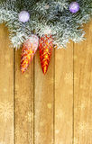 Christmas garland on the background dnrevyannyh boards. Christmas theme Stock Photography