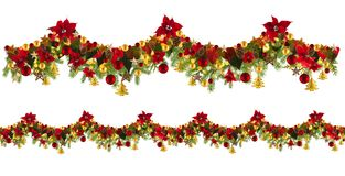 Christmas garland background with golden stars and poinsetta Stock Photos