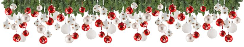 Christmas garland background with ornaments, christmas bauble. S, free space for your text Royalty Free Stock Photo