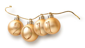 Christmas garland from balls with numbers of year Royalty Free Stock Photography