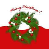 Christmas garland with balls and ribbons. Christmas garland with red balls and ribbons Royalty Free Stock Photos