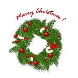 Christmas garland with balls and ribbons. Christmas garland with red balls and ribbons Stock Images