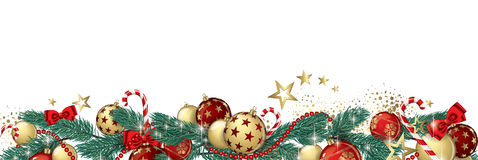 Christmas garland banner. Christmas garland and glitter full vector banner Stock Photos