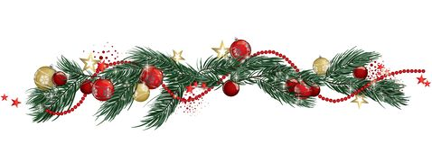 Christmas garland banner. Christmas garland and glitter full vector banner Royalty Free Stock Image